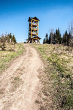Tabor hill in Javorniky mountains in Slovakia with view tower. Tabor hill above Kysucke Nove Mesto city in Javorniky mountains in Slovakia with wooden view tower Stock Images