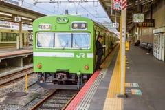 Taborowy czekanie dla pasażera przy Kyoto stacją Zdjęcia Stock