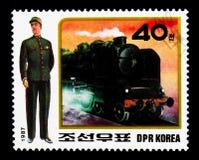 Taborowy dyrygent, parowa lokomotywa, mundury kolej obsdza personelem seria, około 1987 zdjęcie stock