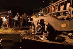 Taborowy wykolejenie w Nakhon Ratchasima, Tajlandia 10/7/2017 Zdjęcia Stock