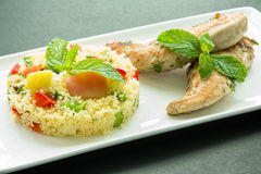 Taboulé with grilled chicken Stock Photo