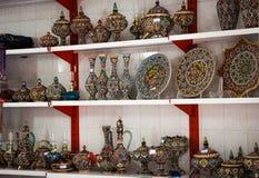 Tabriz, Kandovan, Iran piękni Irańscy tradycyjni naczynia fotografia stock