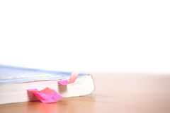 Tabs in a book. Tabbed chapters in a school book stock image