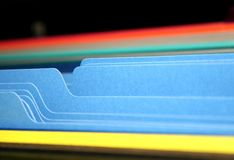 Tabs of Files. Coloful files in the cabinet Stock Images