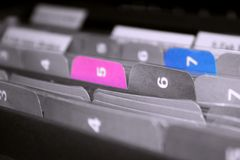 Tabs of Files. Coloful files in the cabinet Royalty Free Stock Image