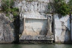 Tabula Traiana en el Danubio Fotografía de archivo libre de regalías
