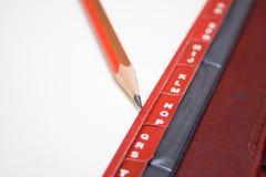 Tabulaciones y lápiz rojos Fotografía de archivo libre de regalías