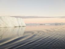 Tabular icebergs in Antarctic Sound. Huge tabular icebergs and floes in Antarctic Sound at twilight in summer Stock Photos