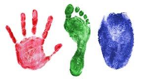 Tabulato della mano, del piede e della barretta Fotografia Stock Libera da Diritti