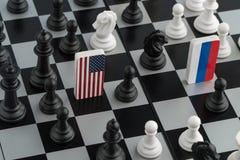 Tabuleiro de xadrez com as bandeiras dos países foto de stock
