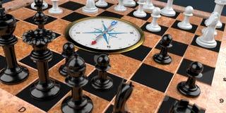 Tabuleiro de xadrez com compasso ilustração do vetor