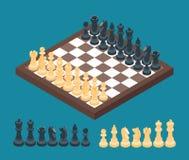 Tabuleiro de xadrez com figuras da xadrez ilustração do vetor