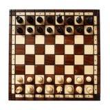 Tabuleiro de xadrez de madeira com peças do jogo de xadrez Imagens de Stock Royalty Free