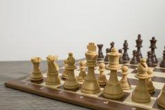 Tabuleiro de xadrez detalhado com a xadrez pronta para um fósforo fotos de stock