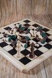 Tabuleiro de xadrez e figuras Foto de Stock Royalty Free