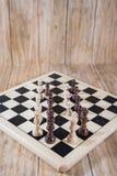 Tabuleiro de xadrez e figuras Fotografia de Stock Royalty Free