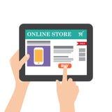 Tabuleta com compra do Internet Fotografia de Stock