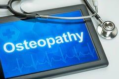 Tabuleta com o Osteopathy do texto na exposição Imagens de Stock Royalty Free