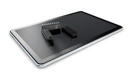 tabuleta 3d e tansistor em um fundo branco Fotos de Stock
