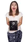 Tabuleta da jovem mulher Imagem de Stock Royalty Free