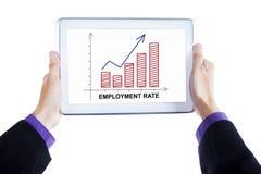 Tabuleta da posse das mãos com carta da taxa de emprego Fotografia de Stock Royalty Free