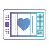 A tabuleta de digitador com paleta de cores e o coração projetam no roxo degradado ao contorno azul ilustração royalty free