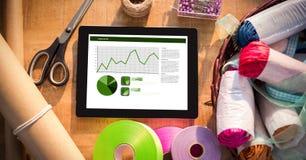 Tabuleta de Digitas com gráficos pelo equipamento da arte e do ofício Foto de Stock Royalty Free