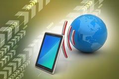 Tabuleta de Digitas com terra, e símbolo Wi-Fi Fotos de Stock