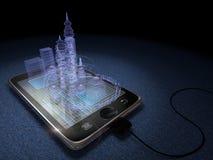 Tabuleta de Digitas e cidade futurista Foto de Stock Royalty Free