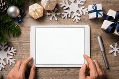 Tabuleta digital do Natal foto de stock
