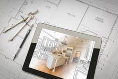 Tabuleta do computador que mostra a ilustração em planos da casa, pena da cozinha imagem de stock