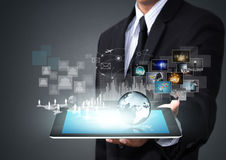 Tabuleta do ecrã táctil com nova tecnologia Fotografia de Stock Royalty Free