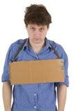 Tabuleta do homem e da caixa Foto de Stock Royalty Free