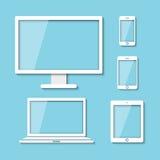 Tabuleta do portátil do moniter do computador e telefone esperto Fotos de Stock Royalty Free