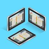 Tabuleta do tela táctil da navegação dos gps de Geolocation Navegação móvel do GPS PC da tabuleta Conceito móvel das tecnologias Fotografia de Stock Royalty Free