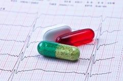 Tabuleta e cápsula no cardiogram. fotografia de stock