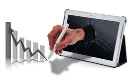 Tabuleta e mão Imagens de Stock