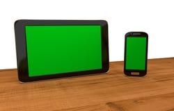 Tabuleta e mobil com exposições vazias Imagem de Stock