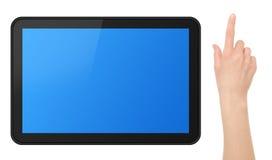Tabuleta interativa da tela de toque com mão Fotos de Stock