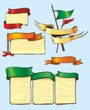Tabuletas de madeira com bandeiras e as fitas brilhantes Fotos de Stock