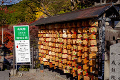 Tabuletas de madeira da oração do dragão no dera Kyoto de Kiyomizu Fotografia de Stock Royalty Free