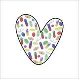 Tabuletas e comprimidos pequenos coloridos brilhantes na forma de um coração ou da letra L ilustração do vetor