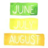 Tabuletas pintados à mão da aquarela com meses do verão ilustração do vetor