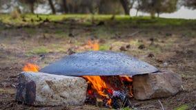 Tabun традиционный путь делать хлеб пита daruze Стоковая Фотография RF