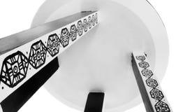 Taburete hecho a mano adentro con el modelo blanco y negro Imagen de archivo