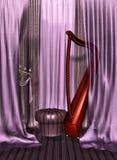 Taburete y cortinas stock de ilustración