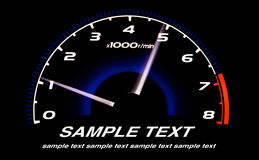 Tacômetro Iluminated do carro na noite imagem de stock