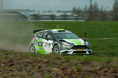 TAC Rally 2015 Belgium. Beckx Rallyteam passing by with great speed on the gravel stage during the TAC Rally Stock Images