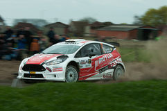 TAC Rally 2015 Belgium. A Ford Fiesta of pilot Bert Cornelis during a stage of the TAC Rally Stock Images
