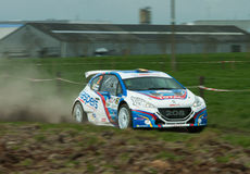 TAC Rally 2015 Belgium. A peugeot 208 on a gravel stage during the TAC Rally Royalty Free Stock Image